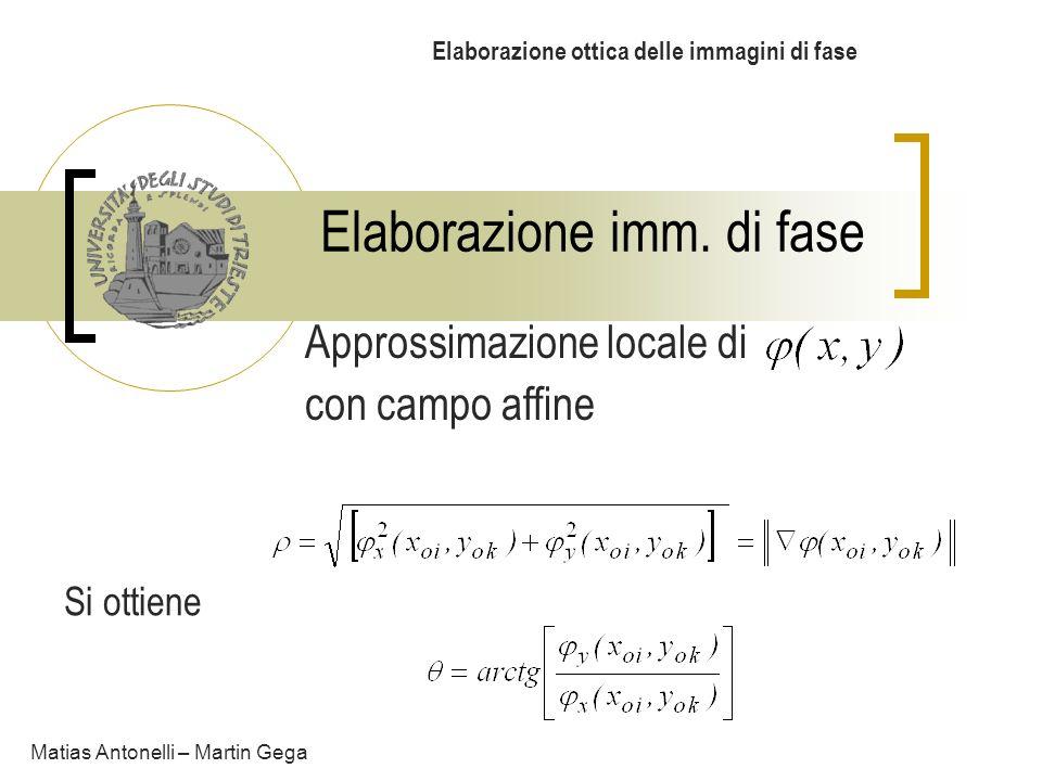 Elaborazione imm. di fase Elaborazione ottica delle immagini di fase Matias Antonelli – Martin Gega Approssimazione locale di con campo affine Si otti