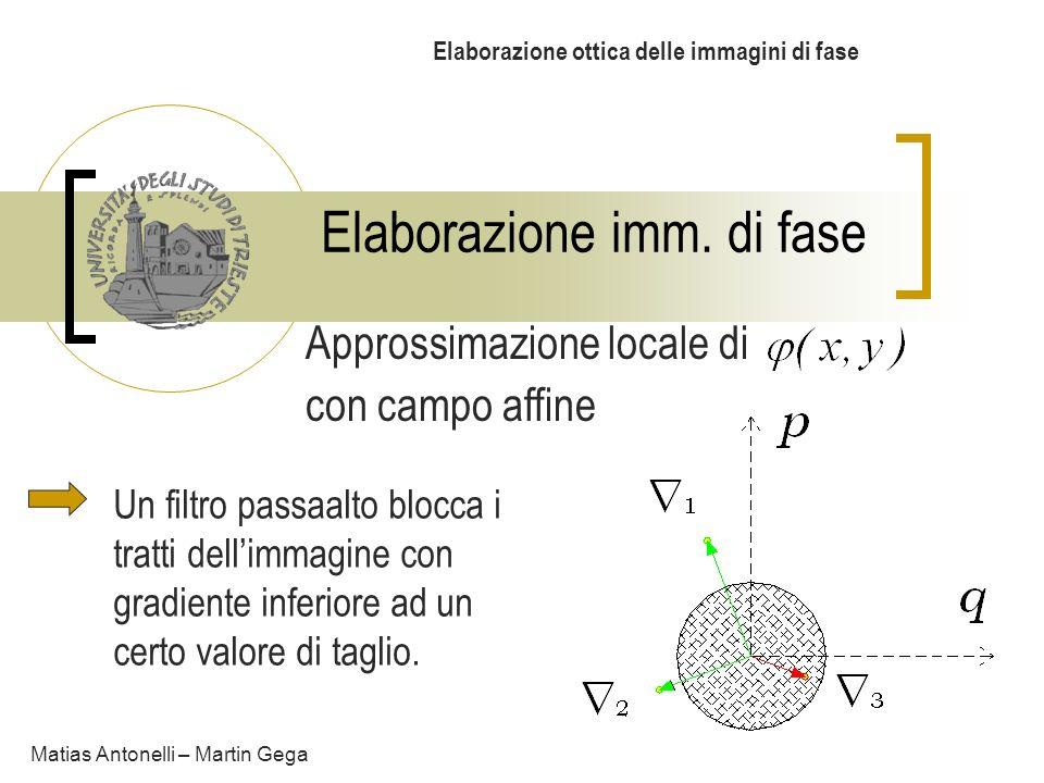 Elaborazione imm. di fase Elaborazione ottica delle immagini di fase Matias Antonelli – Martin Gega Approssimazione locale di con campo affine Un filt