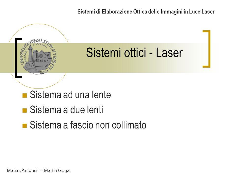 Sistemi ottici - Laser Sistemi di Elaborazione Ottica delle Immagini in Luce Laser Sistema ad una lente Sistema a due lenti Sistema a fascio non colli