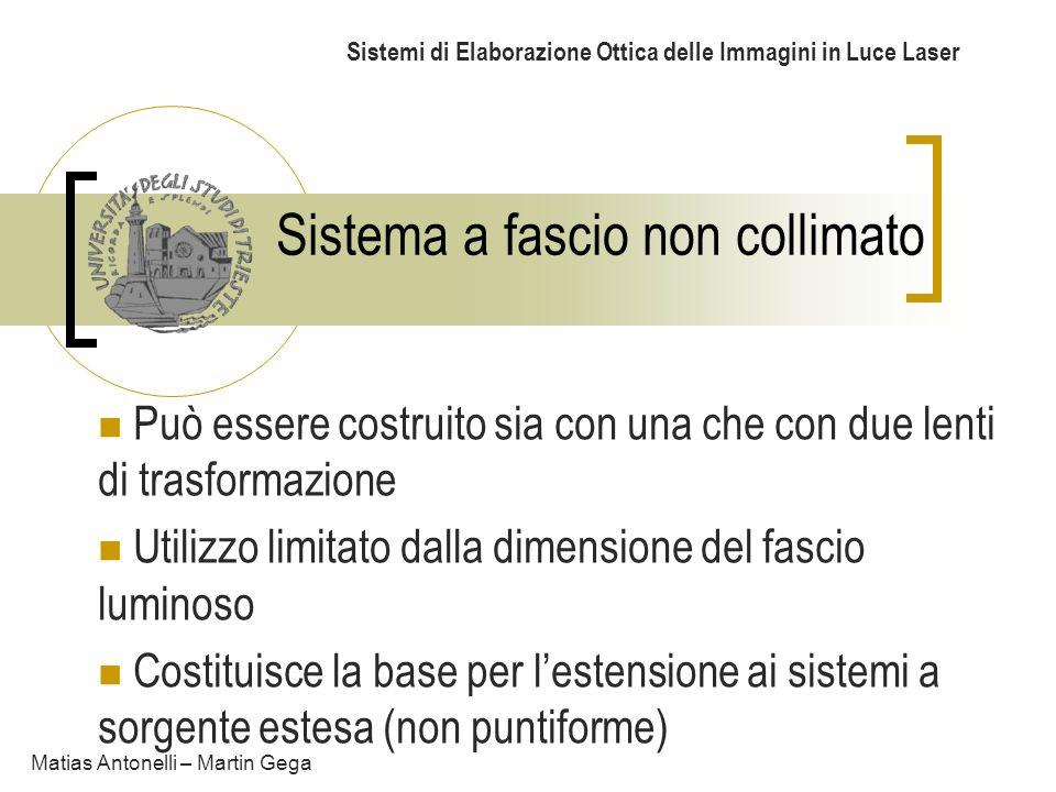 Sistema a fascio non collimato Sistemi di Elaborazione Ottica delle Immagini in Luce Laser Può essere costruito sia con una che con due lenti di trasf