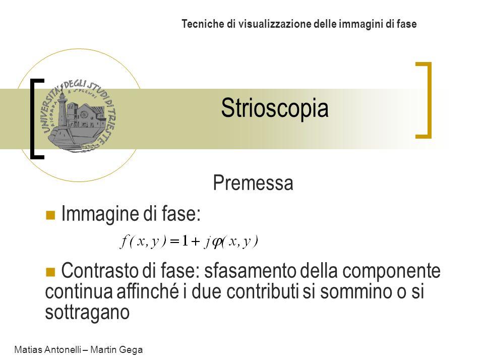 Strioscopia Tecniche di visualizzazione delle immagini di fase Matias Antonelli – Martin Gega Premessa Immagine di fase: Contrasto di fase: sfasamento