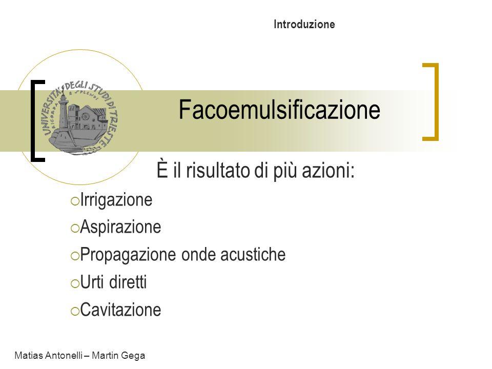 Facoemulsificazione Matias Antonelli – Martin Gega Introduzione È il risultato di più azioni: Irrigazione Aspirazione Propagazione onde acustiche Urti