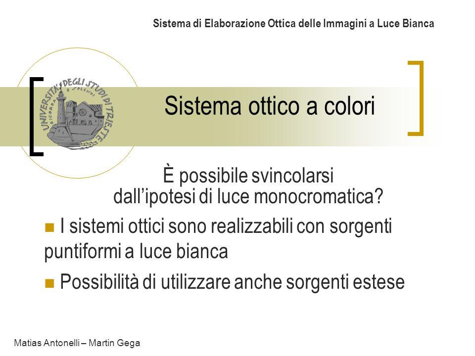 Sistema ottico a colori Sistema di Elaborazione Ottica delle Immagini a Luce Bianca È possibile svincolarsi dallipotesi di luce monocromatica? I siste