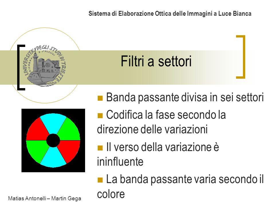 Filtri a settori Sistema di Elaborazione Ottica delle Immagini a Luce Bianca Matias Antonelli – Martin Gega Banda passante divisa in sei settori Codif