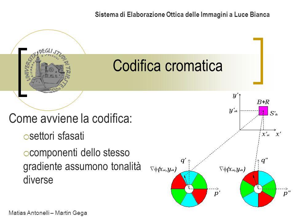Codifica cromatica Sistema di Elaborazione Ottica delle Immagini a Luce Bianca Come avviene la codifica: settori sfasati componenti dello stesso gradi