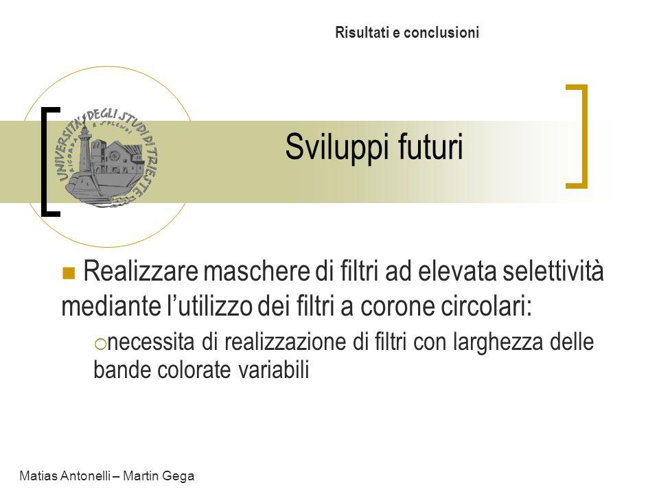 Sviluppi futuri Risultati e conclusioni Matias Antonelli – Martin Gega Realizzare maschere di filtri ad elevata selettività mediante lutilizzo dei fil