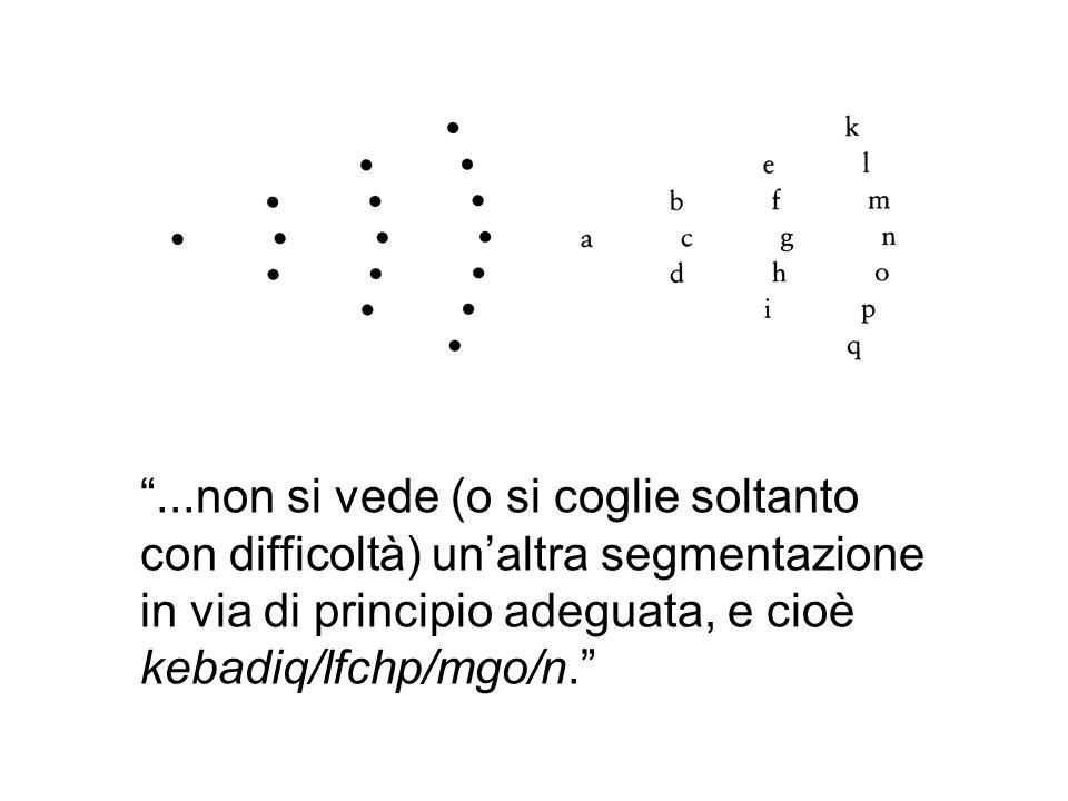 ...non si vede (o si coglie soltanto con difficoltà) unaltra segmentazione in via di principio adeguata, e cioè kebadiq/lfchp/mgo/n.