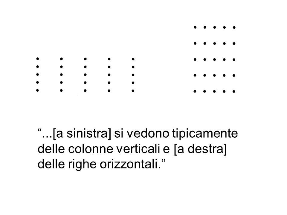 ...[a sinistra] si vedono tipicamente delle colonne verticali e [a destra] delle righe orizzontali.