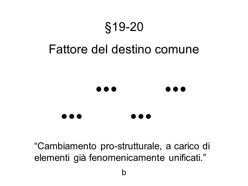 §19-20 Fattore del destino comune Cambiamento pro-strutturale, a carico di elementi già fenomenicamente unificati.