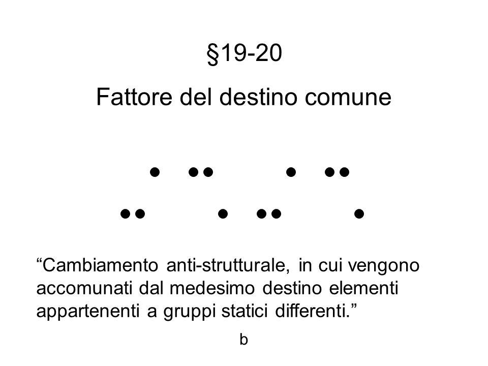 §19-20 Fattore del destino comune Cambiamento anti-strutturale, in cui vengono accomunati dal medesimo destino elementi appartenenti a gruppi statici differenti.