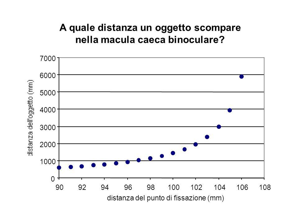 A quale distanza un oggetto scompare nella macula caeca binoculare? 0 1000 2000 3000 4000 5000 6000 7000 9092949698100102104106108 distanza del punto