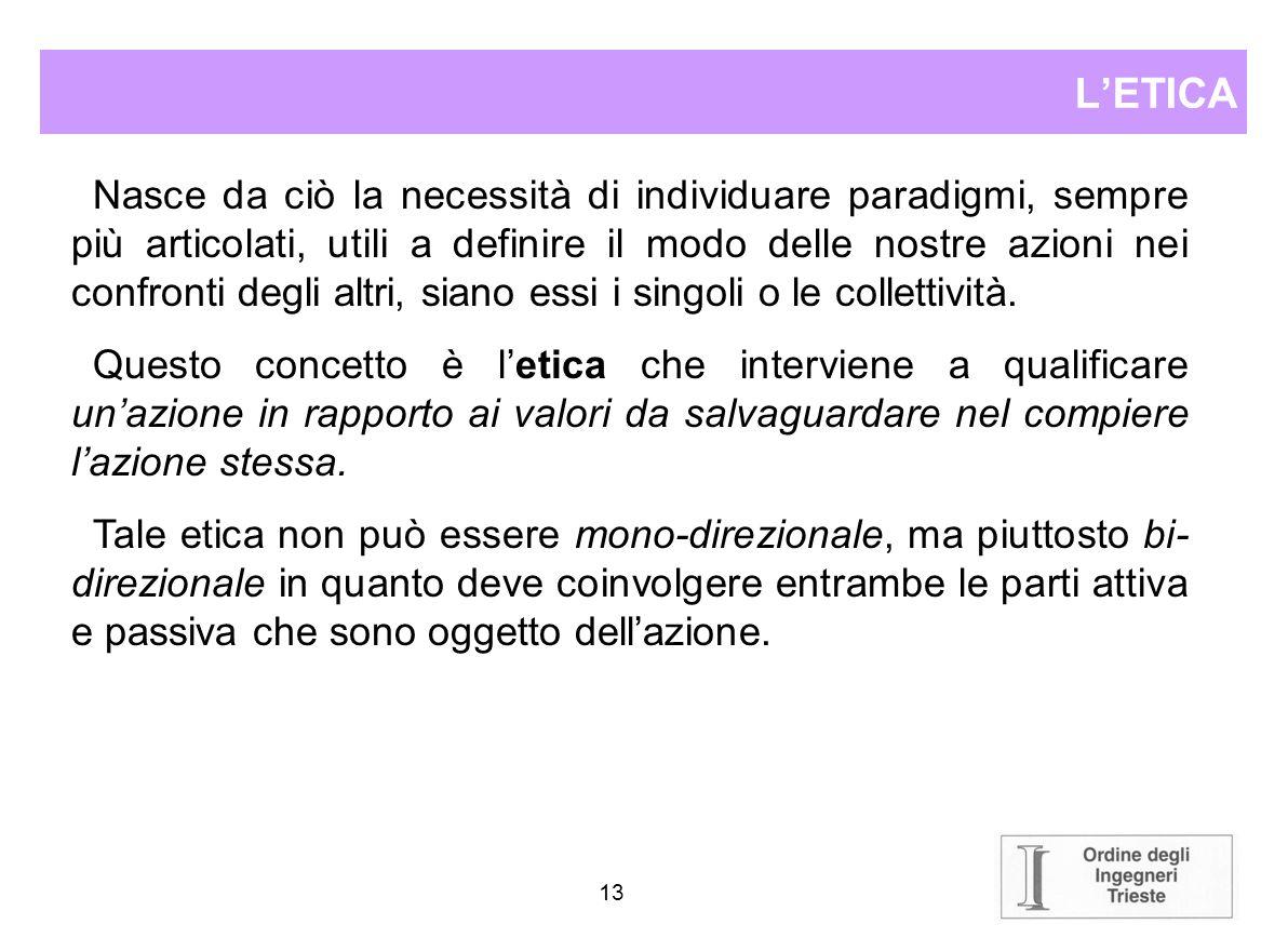 12 LETICA Letica è quella parte della filosofia che studia la morale, e cioè quanto attiene ai costumi, agli atti ed ai pensieri umani correlati al be