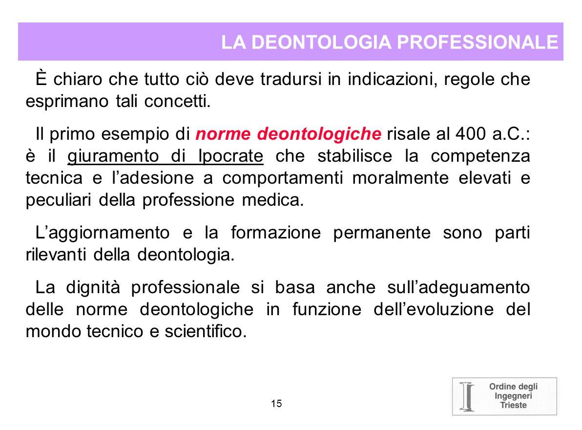 14 LA DEONTOLOGIA PROFESSIONALE La deontologia traduce letica, nella teoria dei doveri, dal valore morale di unazione al valore effettivo che lazione