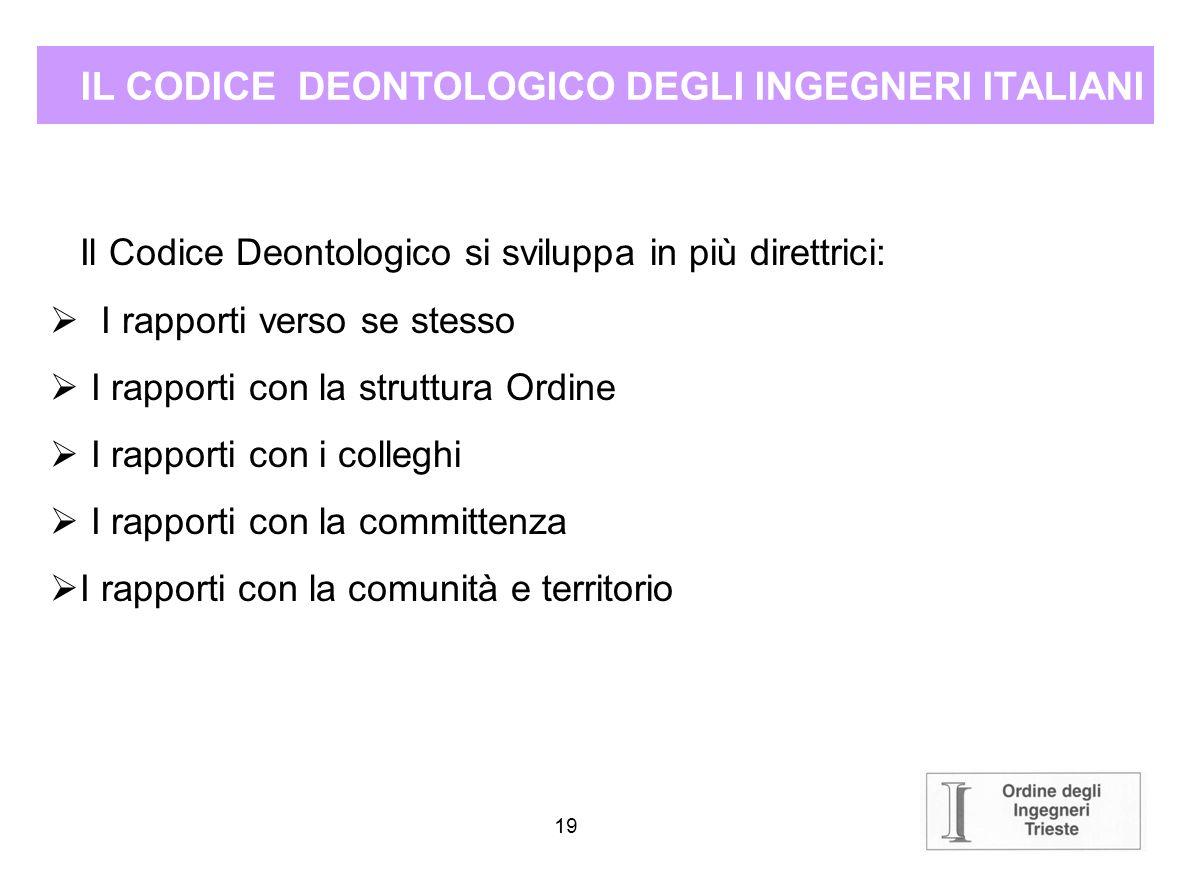 18 IL CODICE DEONTOLOGICO DEGLI INGEGNERI ITALIANI Premessa 1.1. La professione dell'Ingegnere deve essere esercitata nel rispetto delle Leggi dello S