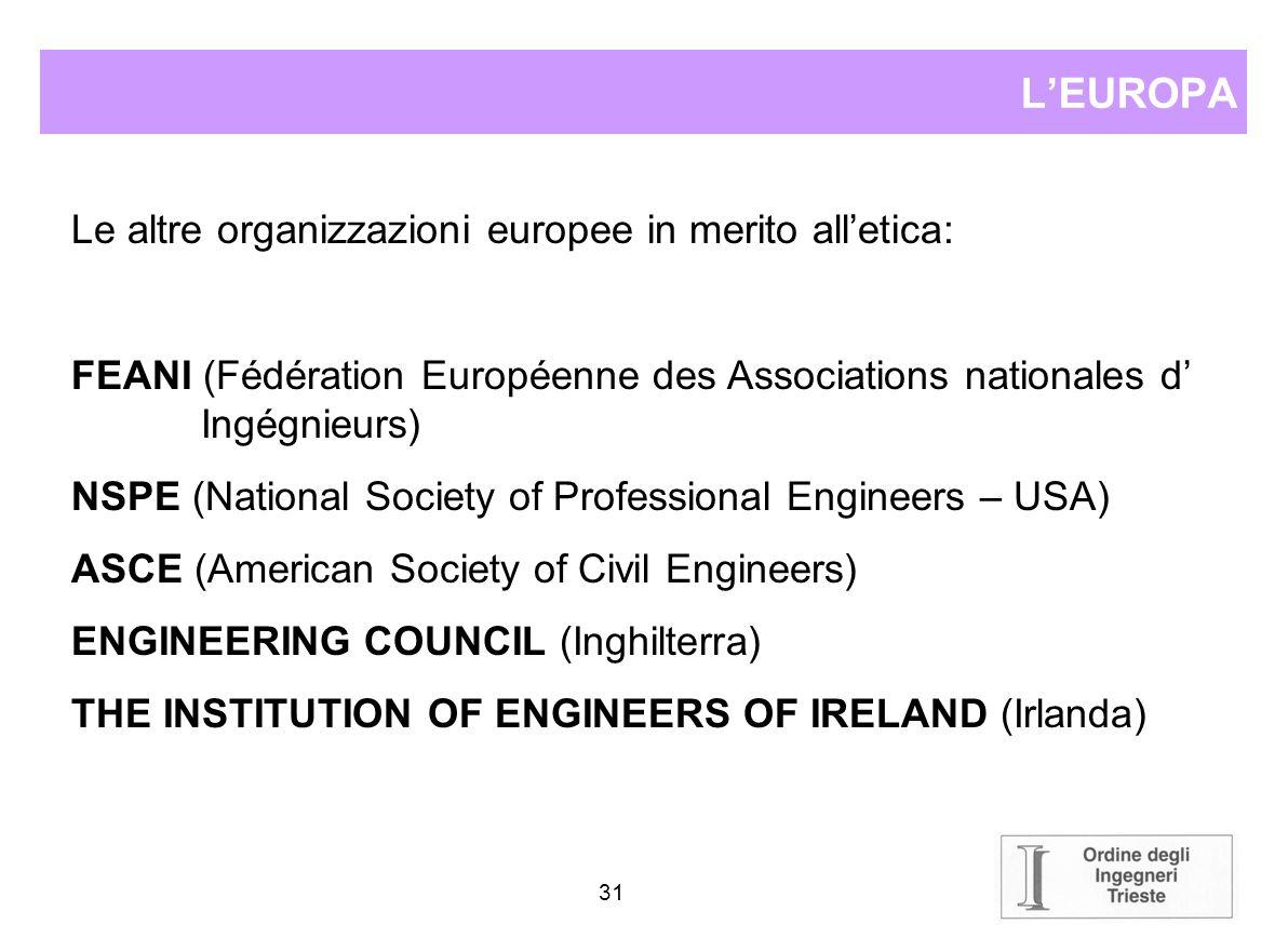 30 LEUROPA Lunificazione europea ha introdotto numerose questioni sulla reciprocità della valenza del titolo professionale per chi vuole operare in un