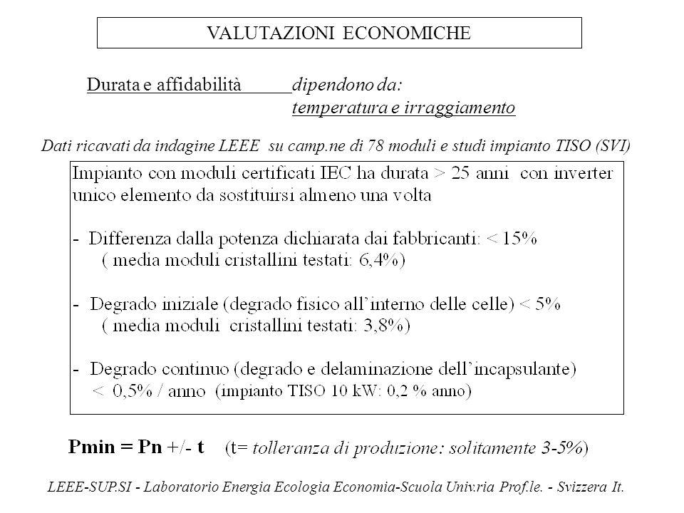 Durata e affidabilitàdipendono da: temperatura e irraggiamento VALUTAZIONI ECONOMICHE LEEE-SUP.SI - Laboratorio Energia Ecologia Economia-Scuola Univ.