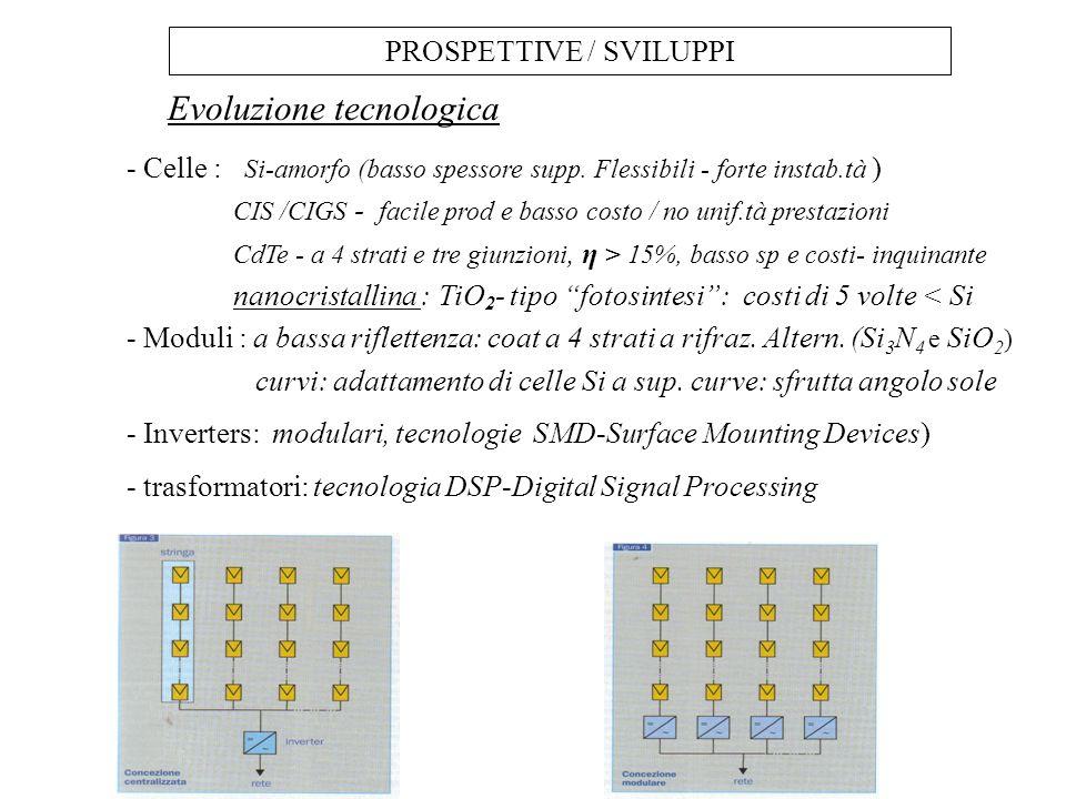 PROSPETTIVE / SVILUPPI - Celle : Si-amorfo (basso spessore supp. Flessibili - forte instab.tà ) CIS /CIGS - facile prod e basso costo / no unif.tà pre