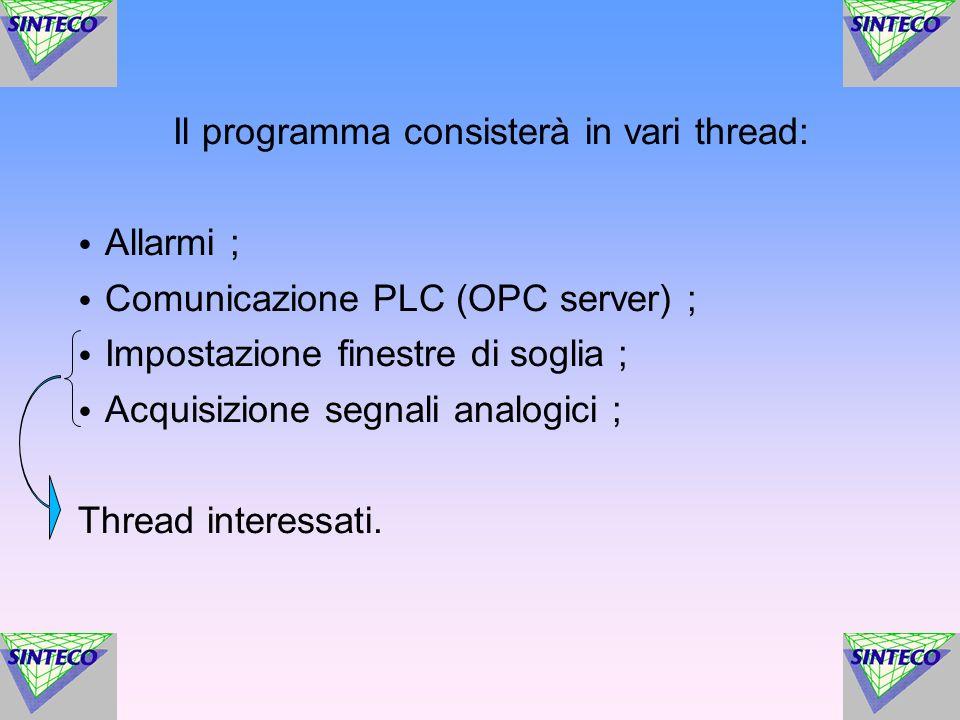 Il programma consisterà in vari thread: Allarmi ; Comunicazione PLC (OPC server) ; Impostazione finestre di soglia ; Acquisizione segnali analogici ;