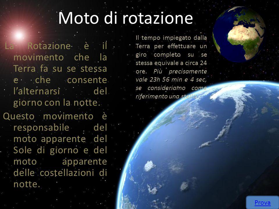 Moto di rotazione La Rotazione è il movimento che la Terra fa su se stessa e che consente lalternarsi del giorno con la notte. Questo movimento è resp
