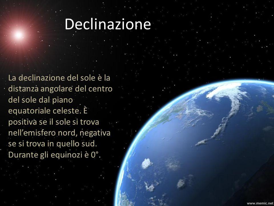 Declinazione La declinazione del sole è la distanza angolare del centro del sole dal piano equatoriale celeste. È positiva se il sole si trova nellemi