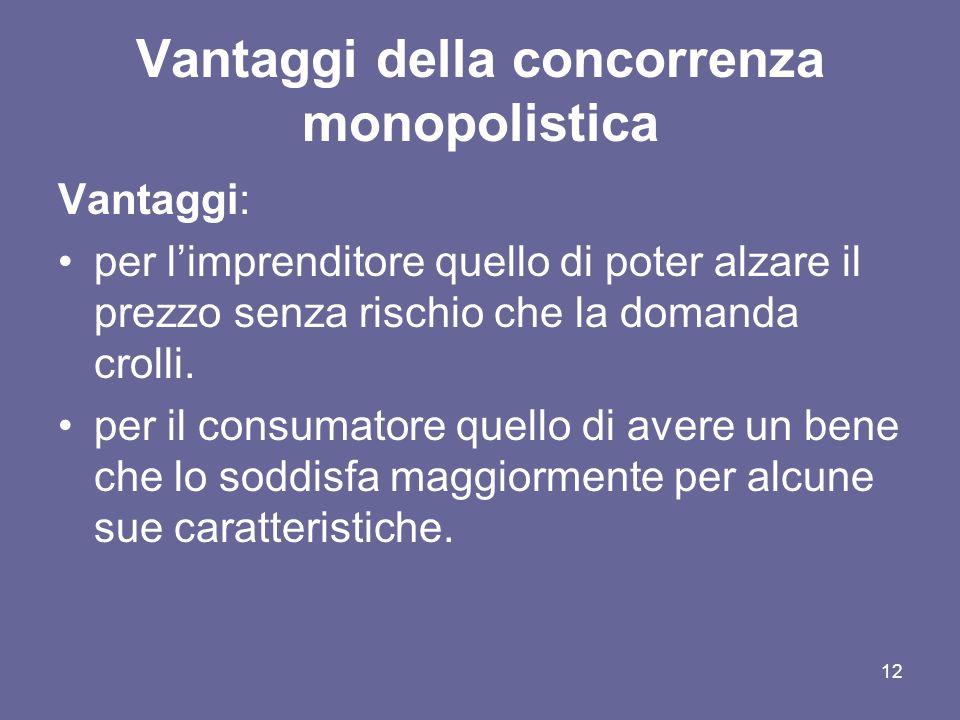 12 Vantaggi della concorrenza monopolistica Vantaggi: per limprenditore quello di poter alzare il prezzo senza rischio che la domanda crolli. per il c