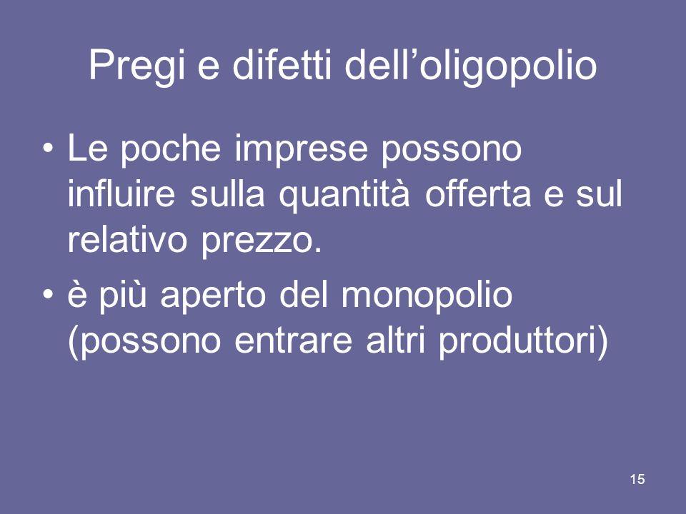 15 Pregi e difetti delloligopolio Le poche imprese possono influire sulla quantità offerta e sul relativo prezzo. è più aperto del monopolio (possono