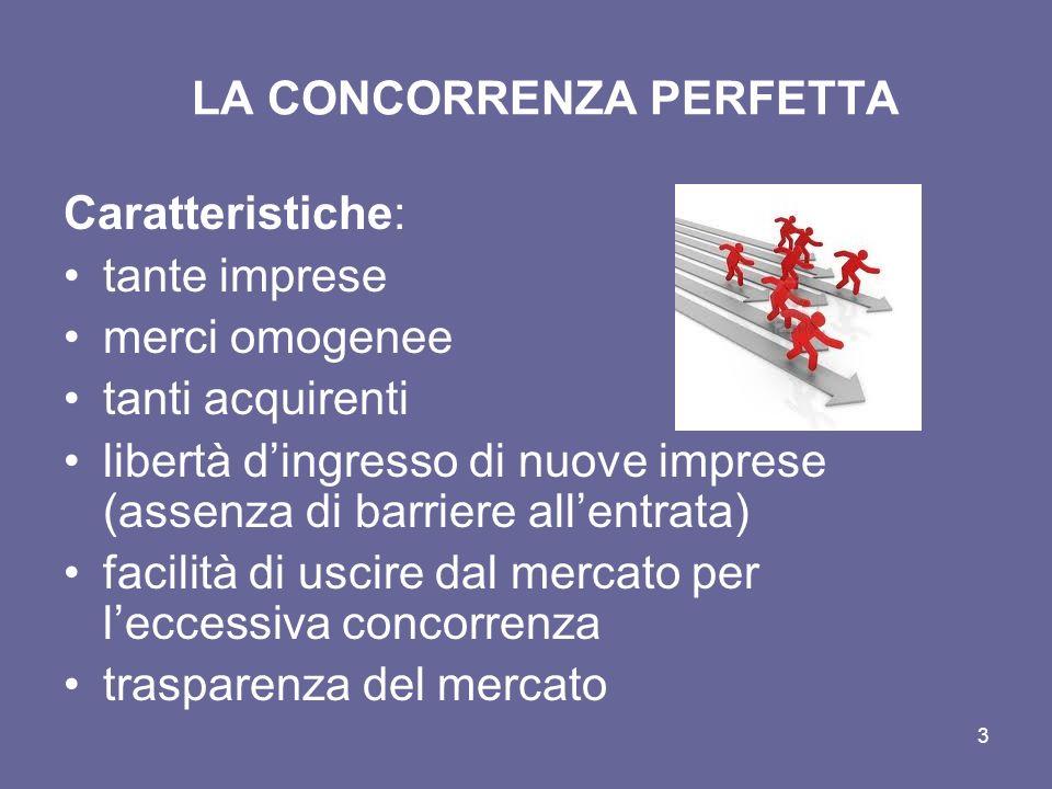 3 LA CONCORRENZA PERFETTA Caratteristiche: tante imprese merci omogenee tanti acquirenti libertà dingresso di nuove imprese (assenza di barriere allen