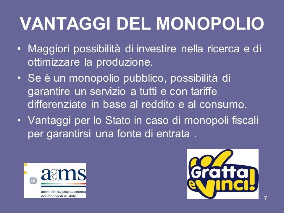 7 VANTAGGI DEL MONOPOLIO Maggiori possibilità di investire nella ricerca e di ottimizzare la produzione. Se è un monopolio pubblico, possibilità di ga