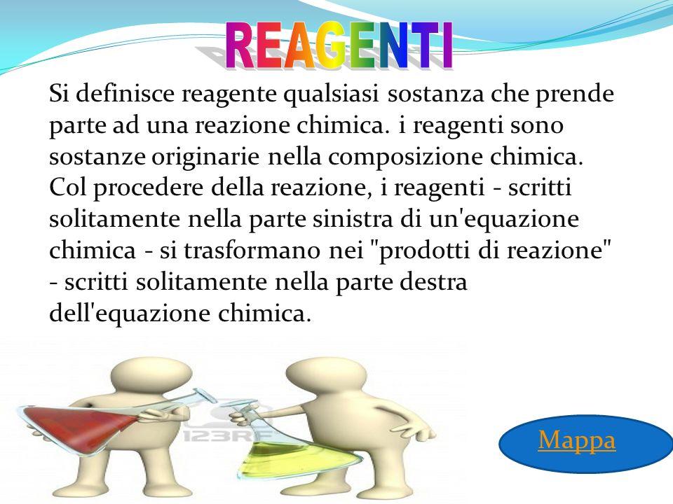 Si definisce reagente qualsiasi sostanza che prende parte ad una reazione chimica. i reagenti sono sostanze originarie nella composizione chimica. Col