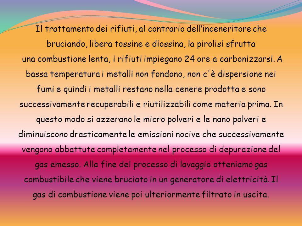 Il trattamento dei rifiuti, al contrario dellinceneritore che bruciando, libera tossine e diossina, la pirolisi sfrutta una combustione lenta, i rifiu