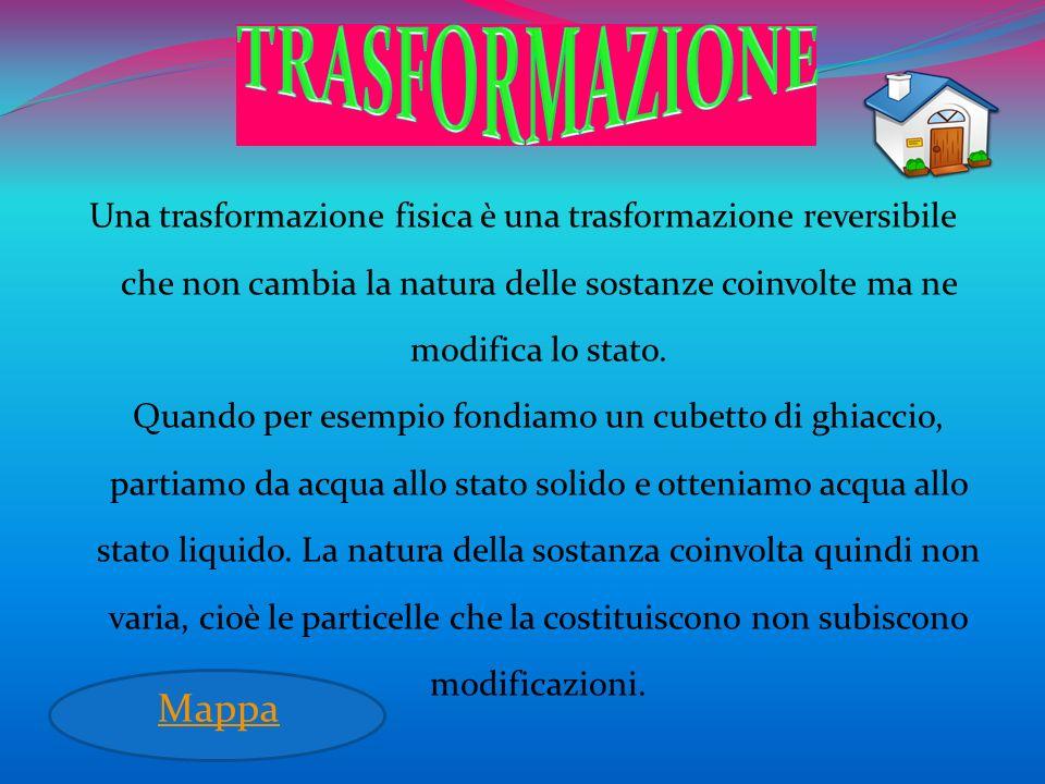 Una trasformazione fisica è una trasformazione reversibile che non cambia la natura delle sostanze coinvolte ma ne modifica lo stato. Quando per esemp