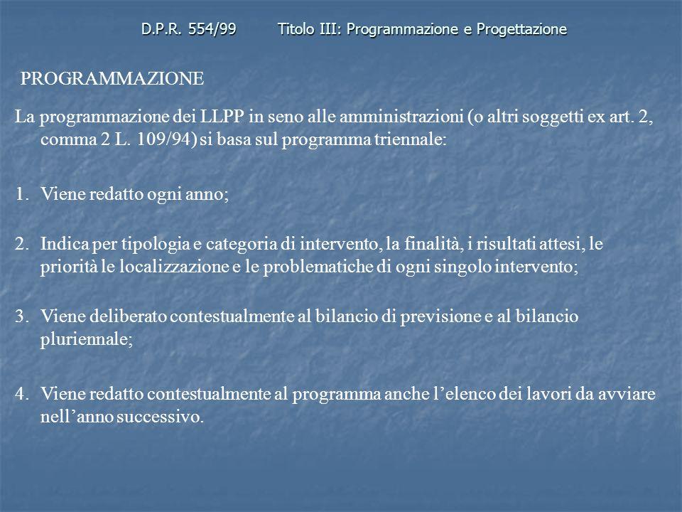 D.P.R. 554/99Titolo III: Programmazione e Progettazione PROGRAMMAZIONE La programmazione dei LLPP in seno alle amministrazioni (o altri soggetti ex ar
