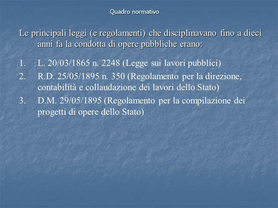Quadro normativo Le principali leggi (e regolamenti) che disciplinavano fino a dieci anni fa la condotta di opere pubbliche erano: 1.L. 20/03/1865 n.