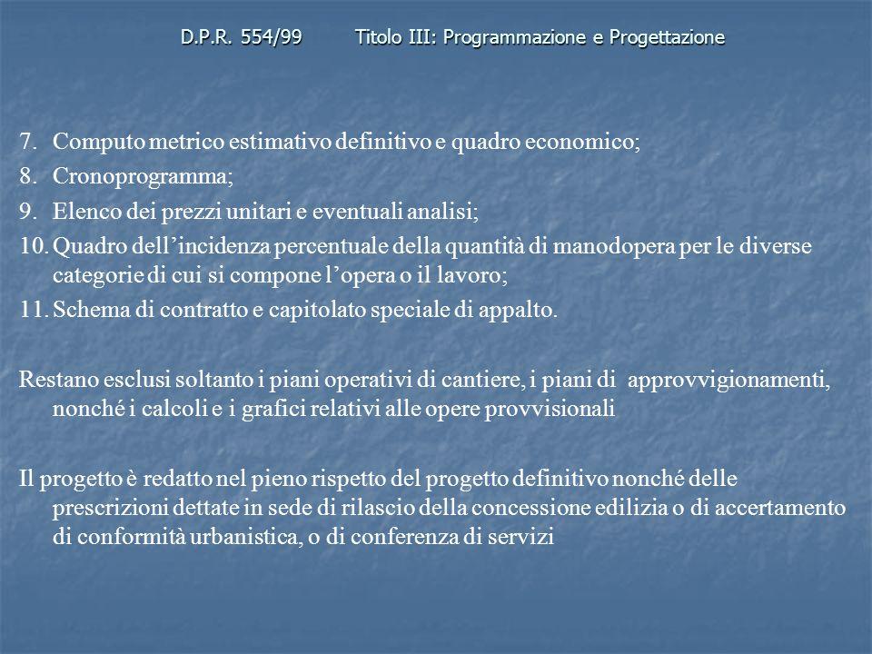 D.P.R. 554/99Titolo III: Programmazione e Progettazione 7.Computo metrico estimativo definitivo e quadro economico; 8.Cronoprogramma; 9.Elenco dei pre