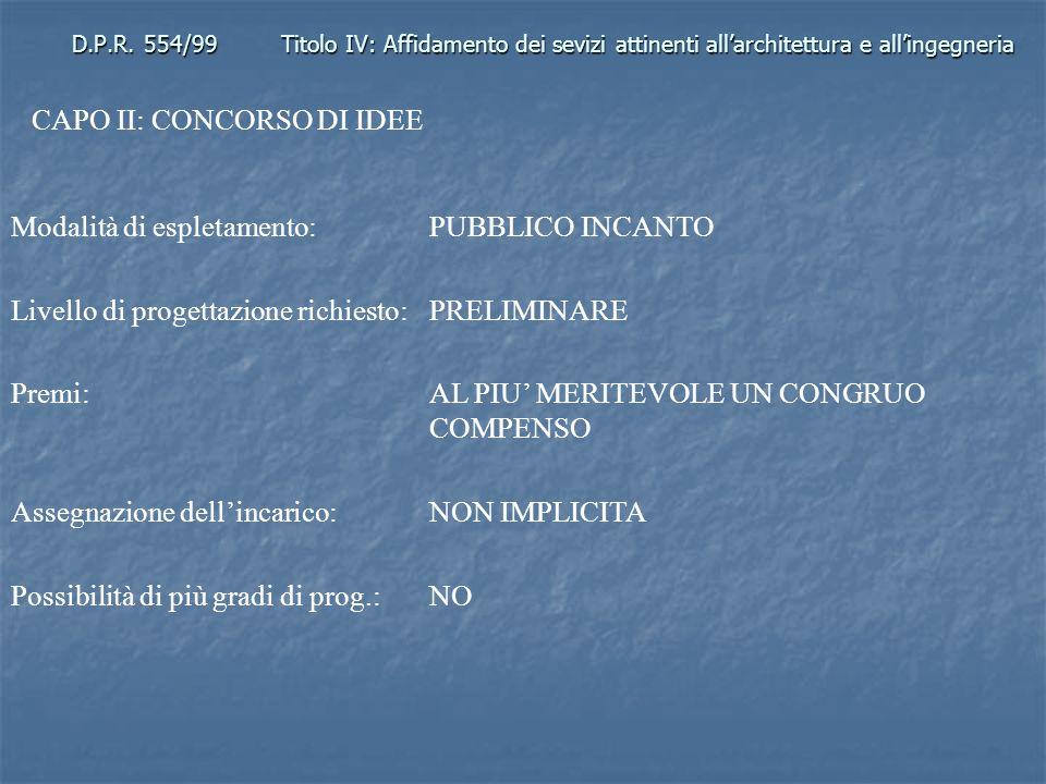 D.P.R. 554/99Titolo IV: Affidamento dei sevizi attinenti allarchitettura e allingegneria CAPO II: CONCORSO DI IDEE Modalità di espletamento: PUBBLICO
