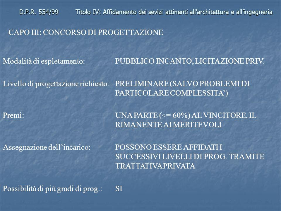 D.P.R. 554/99Titolo IV: Affidamento dei sevizi attinenti allarchitettura e allingegneria CAPO III: CONCORSO DI PROGETTAZIONE Modalità di espletamento: