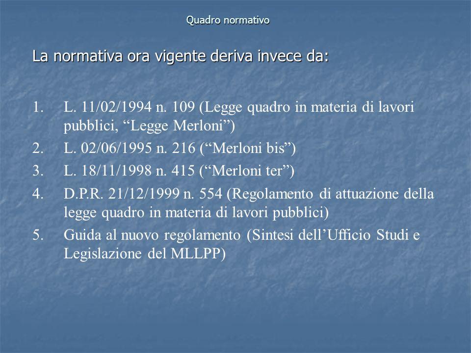 Quadro normativo La normativa ora vigente deriva invece da: 1.L. 11/02/1994 n. 109 (Legge quadro in materia di lavori pubblici, Legge Merloni) 2.L. 02