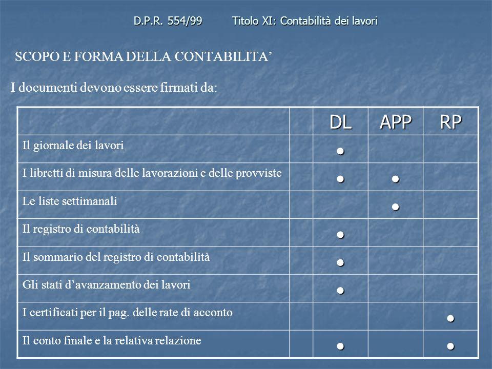 D.P.R. 554/99Titolo XI: Contabilità dei lavori SCOPO E FORMA DELLA CONTABILITA I documenti devono essere firmati da: DLAPPRP Il giornale dei lavori I