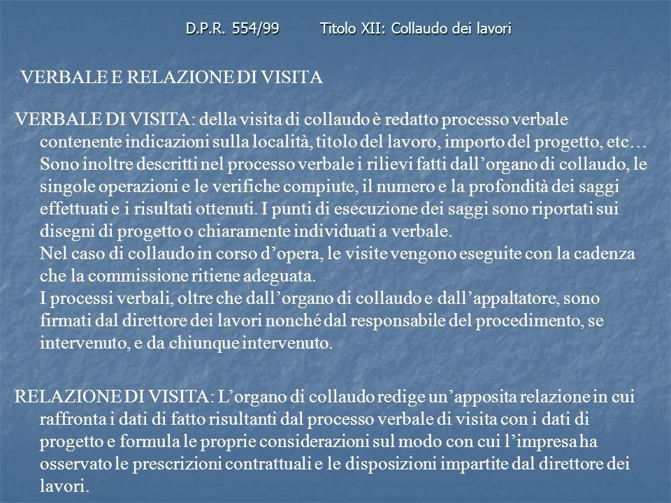 D.P.R. 554/99Titolo XII: Collaudo dei lavori VERBALE E RELAZIONE DI VISITA VERBALE DI VISITA: della visita di collaudo è redatto processo verbale cont