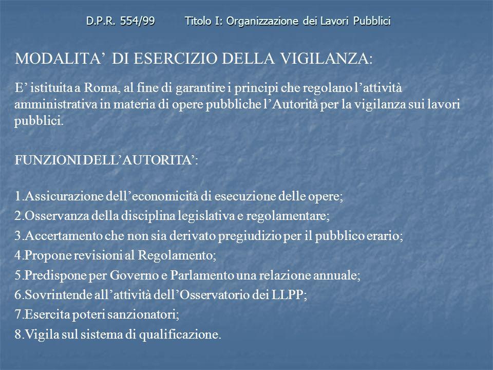 D.P.R. 554/99Titolo I: Organizzazione dei Lavori Pubblici MODALITA DI ESERCIZIO DELLA VIGILANZA: E istituita a Roma, al fine di garantire i principi c