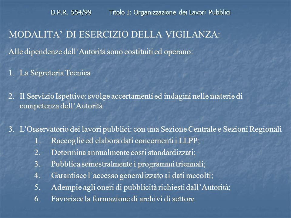 D.P.R. 554/99Titolo I: Organizzazione dei Lavori Pubblici MODALITA DI ESERCIZIO DELLA VIGILANZA: Alle dipendenze dellAutorità sono costituiti ed opera