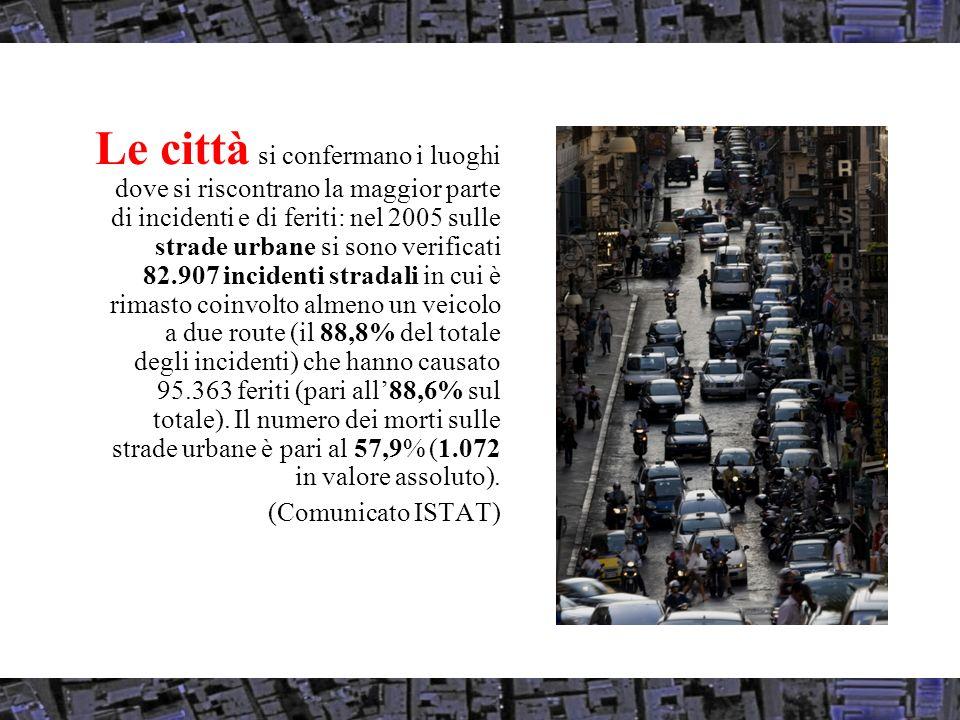 Le città si confermano i luoghi dove si riscontrano la maggior parte di incidenti e di feriti: nel 2005 sulle strade urbane si sono verificati 82.907 incidenti stradali in cui è rimasto coinvolto almeno un veicolo a due route (il 88,8% del totale degli incidenti) che hanno causato 95.363 feriti (pari all88,6% sul totale).
