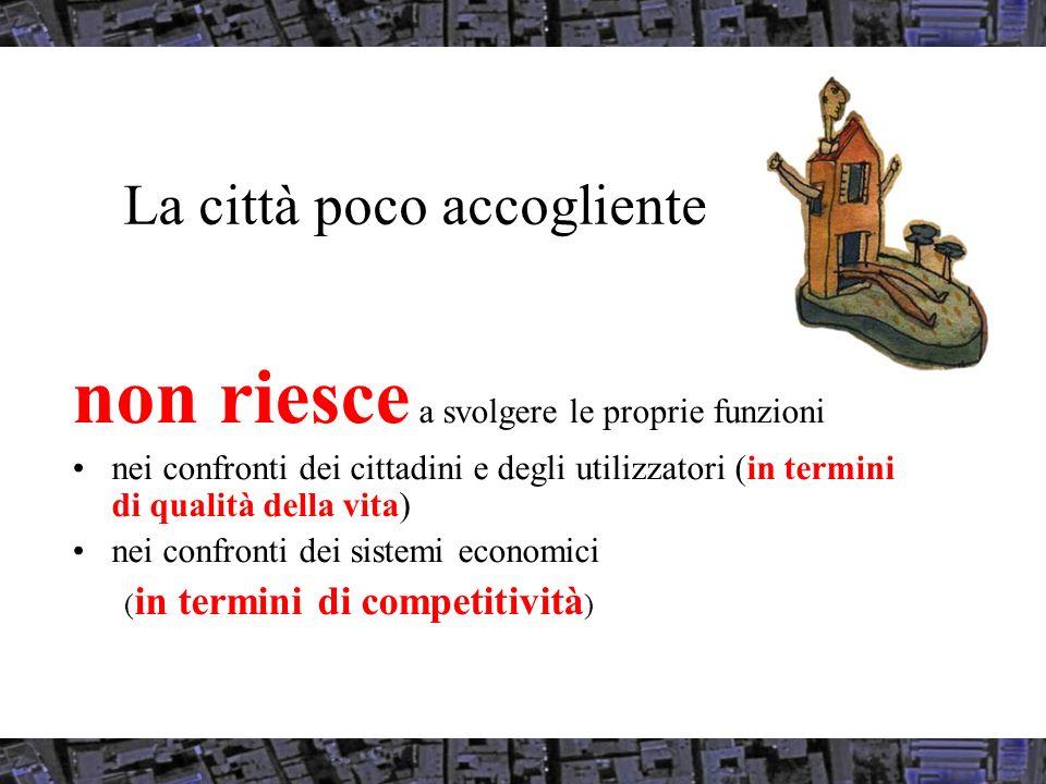 La città poco accogliente non riesce a svolgere le proprie funzioni nei confronti dei cittadini e degli utilizzatori (in termini di qualità della vita) nei confronti dei sistemi economici ( in termini di competitività )