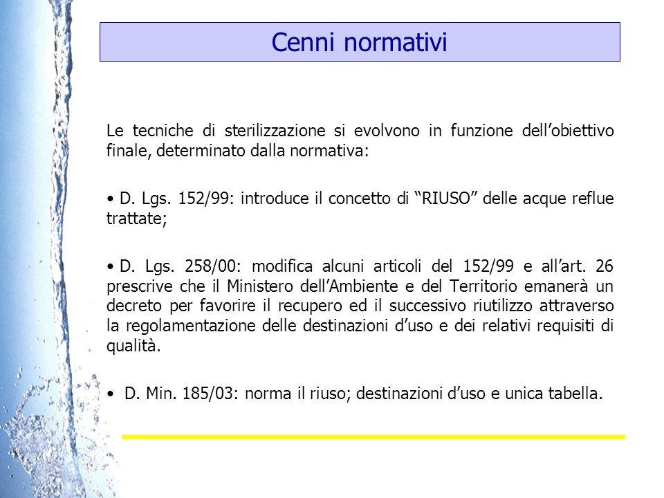 Cenni normativi Le tecniche di sterilizzazione si evolvono in funzione dellobiettivo finale, determinato dalla normativa: D. Lgs. 152/99: introduce il