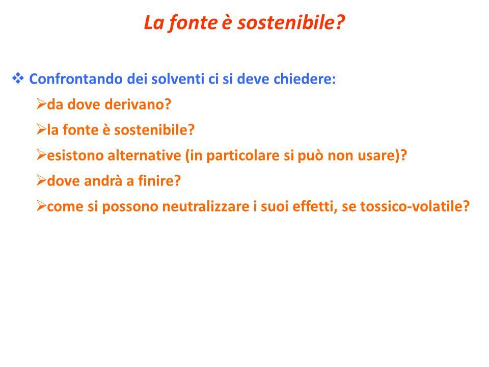 La fonte è sostenibile? Confrontando dei solventi ci si deve chiedere: da dove derivano? la fonte è sostenibile? esistono alternative (in particolare