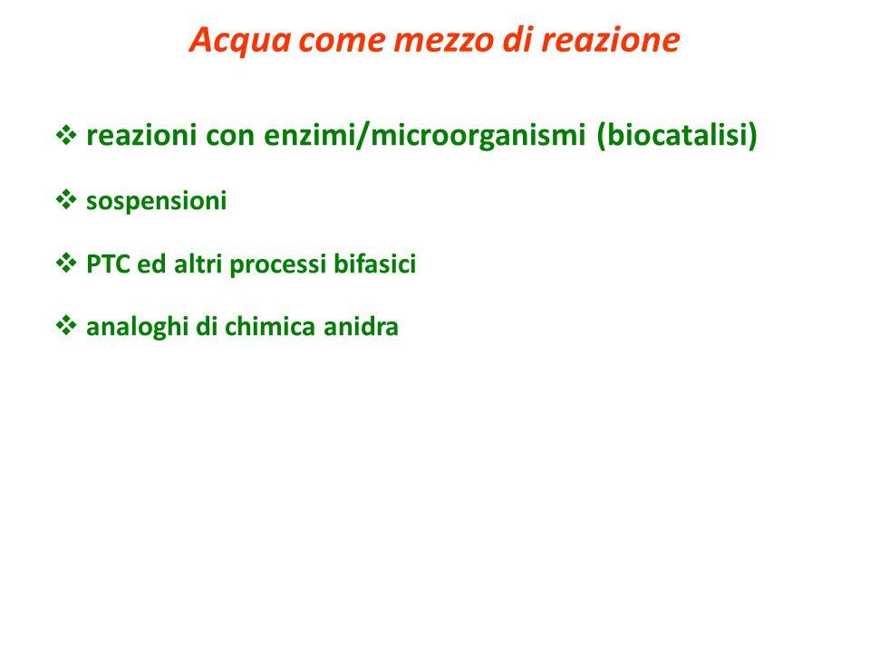 reazioni con enzimi/microorganismi (biocatalisi) sospensioni PTC ed altri processi bifasici analoghi di chimica anidra Acqua come mezzo di reazione