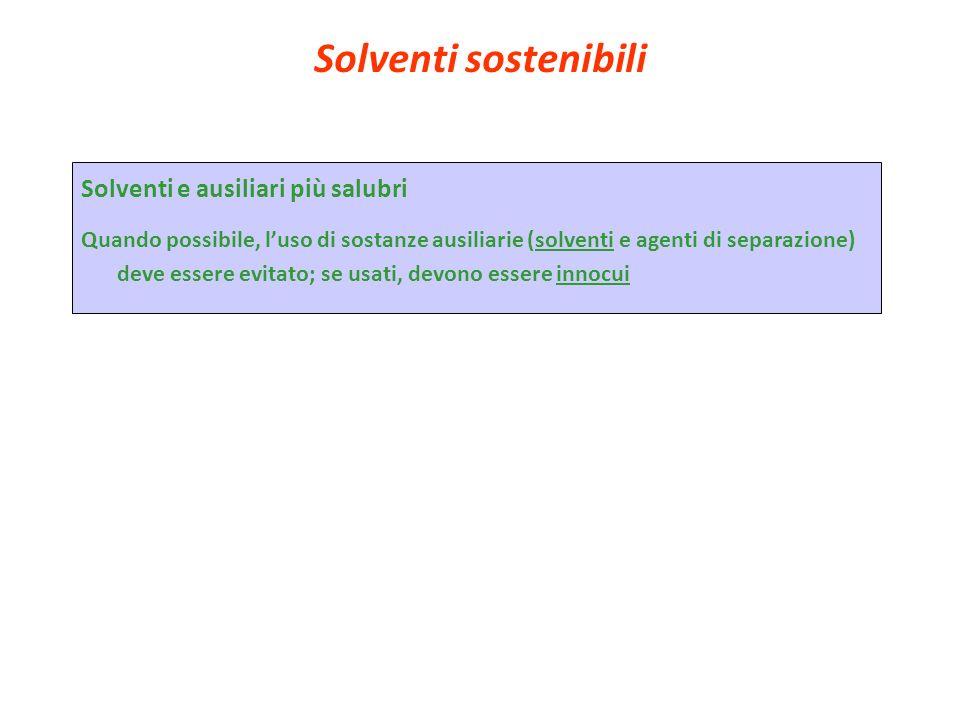 Solventi sostenibili Solventi e ausiliari più salubri Quando possibile, luso di sostanze ausiliarie (solventi e agenti di separazione) deve essere evi