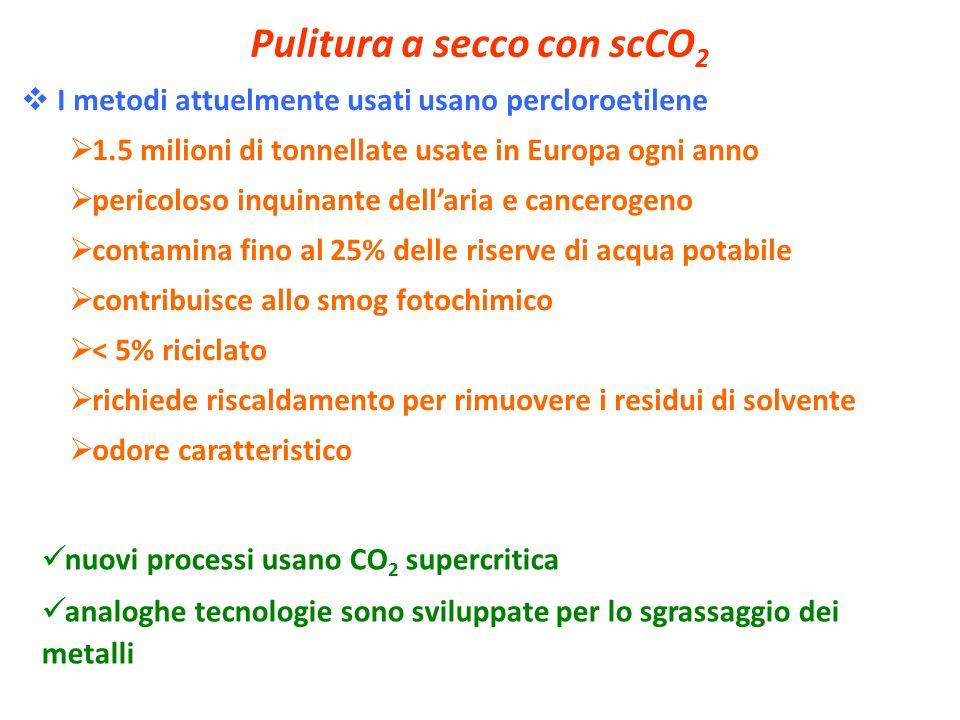 Pulitura a secco con scCO 2 I metodi attuelmente usati usano percloroetilene 1.5 milioni di tonnellate usate in Europa ogni anno pericoloso inquinante