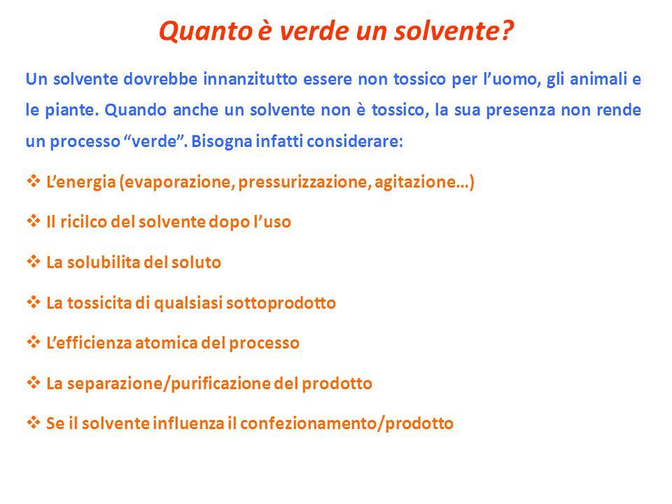 Quanto è verde un solvente? Un solvente dovrebbe innanzitutto essere non tossico per luomo, gli animali e le piante. Quando anche un solvente non è to