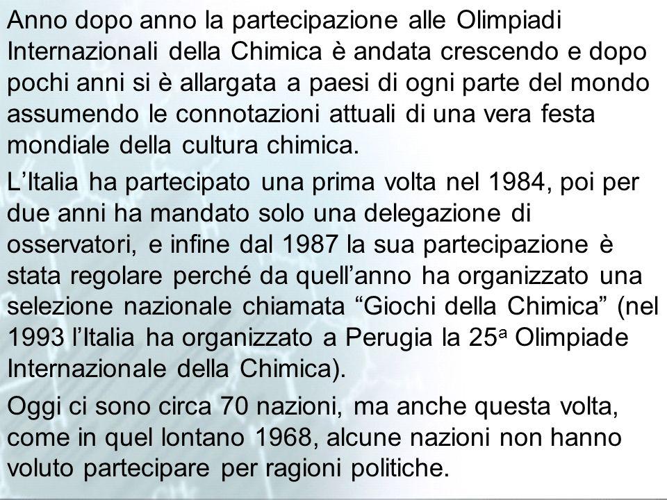 Anno dopo anno la partecipazione alle Olimpiadi Internazionali della Chimica è andata crescendo e dopo pochi anni si è allargata a paesi di ogni parte